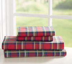 this might be nice, queen size Pembroke Plaid Sheet Set   Pottery Barn