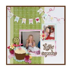 Hello Cupcake Scrapbook Page #sizzix