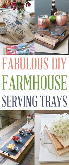 Fabulous DIY Farmhouse Serving Trays that are perfect for your home and fabulous for gifts. No matter if your are serving coffee or displaying a beautiful vignette...these gorgeous DIY Farmhouse Serving Trays are for you! Quick...easy and fabulous! #DIY #DiyServingTrays #ServingTrays #DisplayTrays #Farmhouse #FarmhouseDIY #FarmhouseDIYServingTrays #FixerUpper #FarmhouseHomeDecor #DIY #FarmhouseDIY