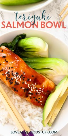 Teriyaki salmon bowls with an easy to make homemade teriyaki sauce. This quick meal is on the table in 20 minutes! Serve with avocado and bok choy or your favourite green veggies. Salmon Recipes, Fish Recipes, Seafood Recipes, Asian Recipes, Whole Food Recipes, Dinner Recipes, Pescatarian Recipes, Vegetarian Recipes, Healthy Recipes