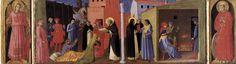 Angelico, cortona poliptych, Predella del Trittico di Cortona è un dipinto di Beato Angelico, tempera su tavola (218x240 cm), databile al 1436-1437 e conservato nel Museo Diocesano di Cortona.-