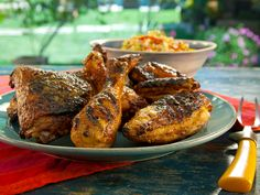 Grilled Red Chile Buttermilk Chicken with Spicy Mango Honey Glaze Recipe : Bobby Flay : Food Network - FoodNetwork.com