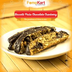 Chocolate, Pista & Cranberry. The yum factor increases. Order this chocolatey treat at http://www.fomokart.com/baker…/biscotti-pista-choc-cranberry