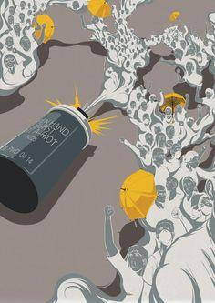 Umbrella Revolution - Eric Chow #art #illustration