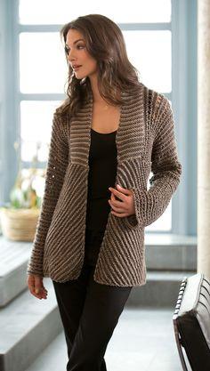 open+front+pattern+for+women+knitted+free+pattern   Free Knitting Pattern L10351 Glamour Jacket : Lion Brand Yarn Company