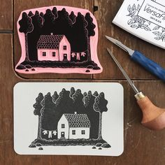 I've finished my house print. Stamp Printing, Screen Printing, Linocut Prints, Art Prints, Lino Art, Stamp Carving, Stencil, Handmade Stamps, Linoprint