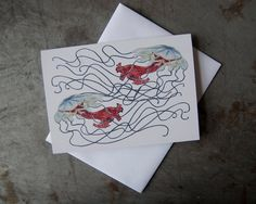 Jellyfish Greeting Card  Sea Creature Art Note by PatWarwickTiles, $3.50