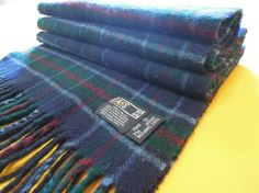 "Daks Scarf London Pure Lambswool Plaid Check Pattern Green Vintage Muffler Foulard Shawl Wrap Made In UK 60"" X 11.5"" (14/12)"