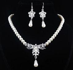 2016 Perlas De Imitación de Joyería de La Boda Set Classic Clear Crystal Charm Regalo Plateado Blanco Conjunto de Perlas Para El Regalo Envío Gratis