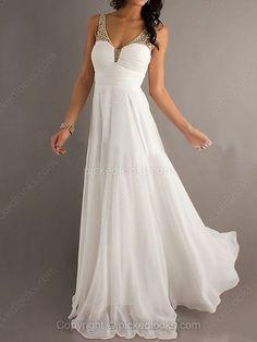Chiffon Straps Floor-length A-line Ruffles Prom Dresses -NZD$171.59