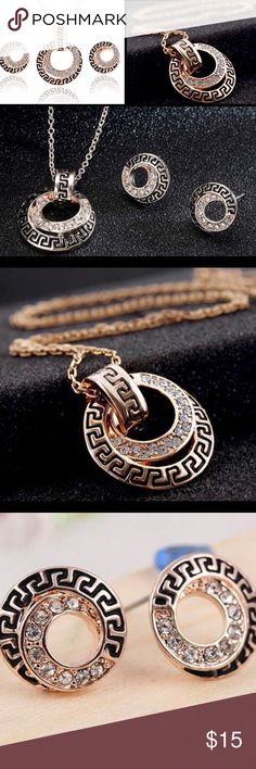 Yellow Gold Plated Rhinestone Necklace Earring Set Pretty Fashion Necklace Earring Set Jewelry Necklaces