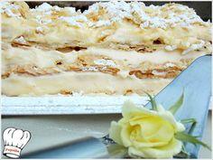 MILLE-FEUILLE (ΜΙΛΦΕΙΓ) Greek Sweets, Greek Desserts, Greek Recipes, Custard Cake, Sweets Cake, Feta, Mashed Potatoes, Macaroni And Cheese, Baking