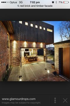 Glamour Drops by Blue Fruit :: a quest for the glamorous details in life ::: Exposed brick walls, timber cladding, style and a lemon tree. External Cladding, Metal Cladding, Bungalow Extensions, House Extensions, Brick Facade, Facade House, Brick Exteriors, Brick And Wood, Exposed Brick Walls