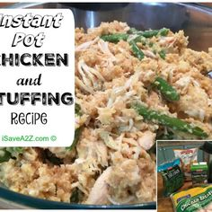Chicken and stuffing cooked in an instant pot.