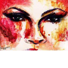 Close-up of P!NK, the singer; Alecia Beth Moore,  watercolour pencils