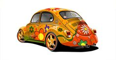 volkswagen bug painted hippie style - I would drive this everywhere! Hippie Auto, Hippie Car, Hippie Chick, Beetle Bug, Vw Beetles, Vw Bus, Hippie Style, Flower Power, Combi Wv