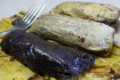 Filipino food: suman maruecos (Sticky purple rice cake)