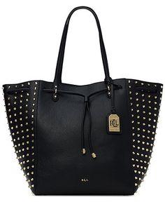061a990010d6 Lauren Ralph Lauren Stud-Trim Large Oxford Tote - Handbags  amp   Accessories - Macy s