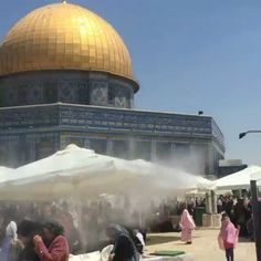 #Repost - Today at Friday prayers a tractor went around #aqsa with a jet water sprinkler to relieve people from the heat during fasting. The outcome was happy people and many smiles. Kids and adults alike had a lot of fun. #aqsa #ramadan #palestine #freepalestine -------------