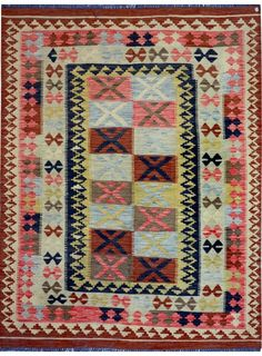 "Multi-colored Oriental Kilim  5' 1"" x 6' 10"" (ft) - No. 12402  http://alrug.com/multi-colored-oriental-kilim-5-1-x-6-10-ft-no-12402.html"