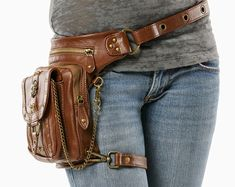 Outlaw Pack – (Brown) Thigh Holster, Protected Purse, Shoulder Hol … - Women's fashion and Women's Bag trends Steampunk Accessoires, Belt Pouch, Hip Bag, Hip Purse, Leather Projects, Backpack Purse, Leather Working, Unique Fashion, Leather Bag