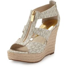 Michael Michael Kors Damita Logo Zipper Wedge Sandal (220 SAR) ❤ liked on Polyvore featuring shoes, sandals, vanilla, wedge heel sandals, wedge espadrilles, espadrille wedge sandals, espadrille platform sandals and caged platform sandals