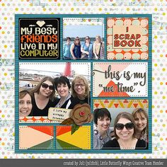My Scrapbook Friends digital scrapbook layout by Juli Fish credits - iScrapbook by Little Butterfly Wings at The Lilypad, EZ Album 10 templates and stitches by Erica Zane at Sweet Shoppe Designs  scrapbook, block design, 3 photos, friends, girlfriends, adults, flowers, patterned paper, stitching