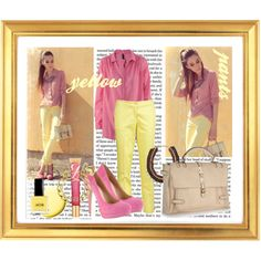 yellow pants, created by croquette on Polyvore