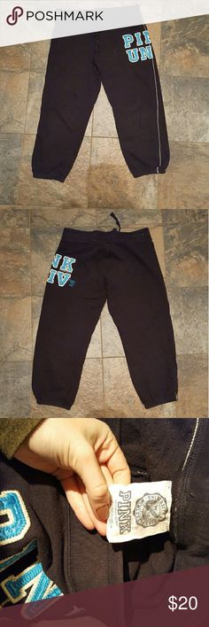 VS Pink old school black and blue sweatpants Victoria's Secret Pink old school sweatpants. Black with blue and white lettering. Lightly worn from early 2000s. Size small. PINK Victoria's Secret Pants Track Pants & Joggers