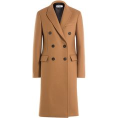 Jil Sander Coat (6 615 PLN) ❤ liked on Polyvore featuring outerwear, coats, camel, double breasted woolen coat, slim fit coat, slim coat, camel coat and woolen coat