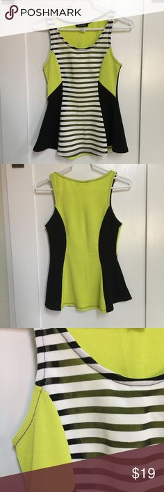 Yellow black stripes sheer peplum top size medium Only used once for a concert! Perfect condition. No flaws. Front stripes of top are sheer and look super cute with a lace bralette underneath, or just a cami. Flattering fit, especially if your like me and don't have a flat tummy. Just don't use it enough. Tops Tank Tops