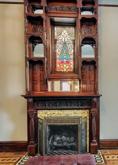 Stain Glass Window Chillicothe, Ohio Queen Anne Victorian home built in Victorian Parlor, Victorian Decor, Victorian Homes, Victorian Gothic, Fireplace Surrounds, Fireplace Mantels, Mantles, Fireplace Ideas, Fireplace Design
