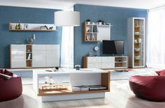 NEW Living Room in HIGH GLOSS WHITE | Furniture Set with Lights SALVO