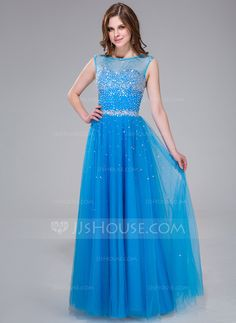 A-Line/Princess Scoop Neck Floor-Length Tulle Prom Dress With Beading Sequins (017041113)
