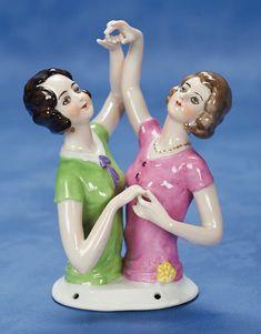 ". Rare German Porcelain Half Dolls Dancing Girls 5 1/2"" (14 cm.) Waist-up porcelain half doll depicting two flapper-era woman in light-heart..."