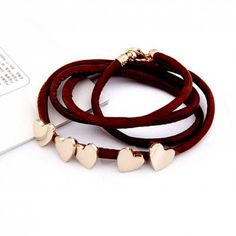 Gold Plated Metallic Heart Wrap Bracelet.  Designer inspired wrap bracelet for a sophisticated look for less.