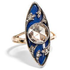 Ein kostbares Firmament - Eine eindrucksvolle Diamantrose in einem blau emaillierten Gold- & Silber-Ring, England um 1790 von Hofer Antikschmuck aus Berlin // #hoferantikschmuck #antik #schmuck #antique #jewellery #jewelry