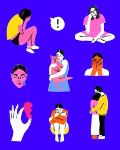 A handful of the illustrations I did for Jessica Walsh's new project, Let's Talk About Mental Health