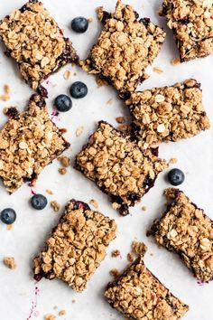 Perfectly sweet healthy blueberry pie bars topped with a delicious oat crumble. These easy vegan and gluten free blueberry bars taste just like blueberry pie and will be your new favorite treat for spring and summer! #glutenfree #glutenfreedessert #vegandessert #vegan #blueberries #piebars #crumble #oatmeal #healthydessert Oatmeal Blueberry Muffins Healthy, Blueberry Pie Bars, Gluten Free Blueberry, Blueberry Crumble, Blueberry Desserts, Gluten Free Desserts, Vegan Desserts, Dessert Recipes, Vegan Food