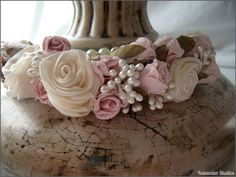 Wedding - Flower Girl Head Piece - Made To Order - Handmade Rosettes, Pink Flowers, Pearl Spray, Free Shipping. $45.00, via Etsy seller Rainwater Studios