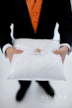 Planned, Designed & Produced by www.swankproductions.com Clean Modern Rooftop Wedding at studio 450. Ring Bearer. #modern #wedding #rooftop #ring #bearer #rings #pillow #decor #inspiration #ideas #clean #white #orange #yellow #studio #450