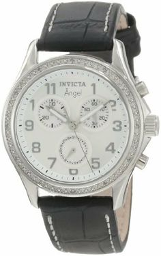 Invicta Women's 0577 Angel Collection Chronograph Diamond Accented Black Leather Watch Invicta. $99.99. Water-resistant to 330 feet (100 M). Chronograph functions with date, 60 second and 30 minute mother of pearl subdials. Durable flame-fusion crystal; brushed and polished stainless steel case; black leather strap with contrast stitching. Precise Swiss-quartz movement. Silver dial with silver-tone hands and arabic numerals; luminous; 12 white diamonds set on bezel
