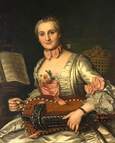 Donat, Donatien Nonotte (1708-1785) — Lady playing the hurdy-gurdy, 1744: Institut de France, Abbaye Royale de Chaalis (400x495)