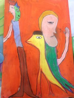 Formas inspiradas en mark Chagall en pastel de óleo t tinta china