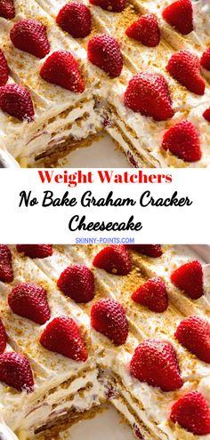 Weight Watchers No Bake Graham Cracker Cheesecake // weightwatchersrecipes smartpointsrecipes WeightWatchers weight_watchers Healthy Skinny_food recipes smartpoints cake 578220039643498198 Ww Desserts, Weight Watchers Desserts, Healthy Dessert Recipes, Bon Dessert, Dessert Blog, Dessert Ideas, Healthy Cheesecake, Cheesecake Recipes, Baking Recipes