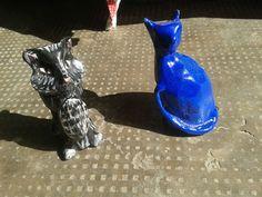Gatti in ceramica a 5 euro cad, posso spedire con prioritaria o con raccomandata, artigianali in ceramica fatti interamente a mano, cercatemi su Fb Lab Liù