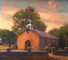 """Southwest Church"" l 14x16 l Dix Baines I Fine Artist l Original Oil Paintings I Churches l Southwest l New Mexico l Adobe l www.dixbaines.com"
