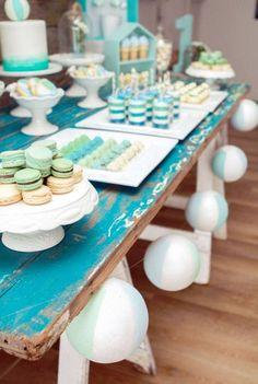 Beach Ball Garland + Sweet Table from a Rustic Beach Ball Birthday Party via Kara's Party Ideas! KarasPartyIdeas.com (8)