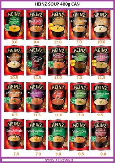 Heinz soup syn values have changed on the app. The no added sugar tomato soup is syns. These are going to be handy especially on days… Aldi Slimming World Syns, Asda Slimming World, Slimming Worls, Slimming World Shopping List, Slimming World Survival, Slimming World Syn Values, Slimming World Diet Plan, Slimming World Treats, Slimming World Dinners