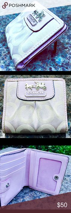 Coach wallet  Super cute mini wallet! lavender light purple with silver coach & trolley label. Holds money slot plus 3 card pockets & 2 more pockets with a zipper on the back. Good condition. Coach Bags Wallets